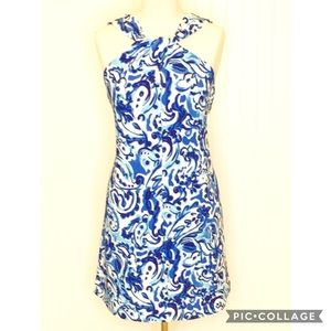 KENSIE Blue and White Paisley Halter Dress Size 8